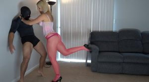 Extremely sexy blonde in pink pantyhose – BrutalCBT