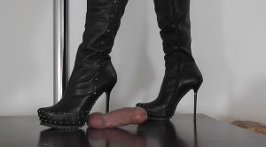 Alina in rough Overknee-Boots – Boot Domination and Shoejob – Aballs and cock crushing sexbomb