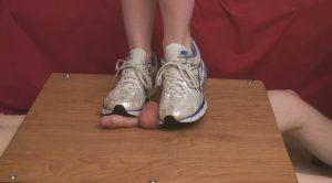 Sidney Scarlet White Gym Shoes Ball Crushing – Suburban Sensations Ballbusting