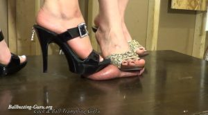 Torturing your cock & balls under our Mules – Anika, Violet – Cock and Ball Trampling Girls