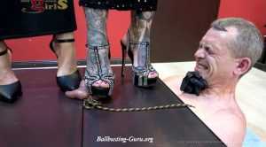 Full weight ball and cock stomping – Miss Jane, Lady Chantal – house slaves of young girls