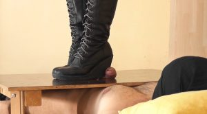 Sexy and Cruel Cock and Ball Trampling by Sara Alfaros in Laced Wedges Boots – Aballs and cock crushing sexbomb