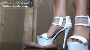 Balls beaten by White Platform Heels! HD – Anikas Cock and Ball Trample