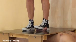 Cockboard Trampling in well used Converse Chucks by Lara Cuore – Aballs and cock crushing sexbomb