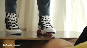 Converse Footprints in your Ballsac, feat. Lara Cuore – Aballs and cock crushing sexbomb