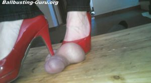 Crushing His Cock and Balls in Red Pumps – Jewels foot fantasy gems