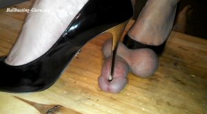 Metal Heels on His Little Balls – Jewels foot fantasy gems