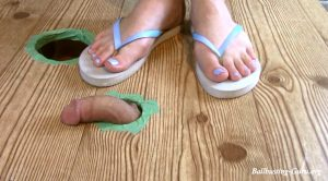Slave Camera view of my sexy flip flops destroy and milk his cock! – Jewels foot fantasy gems