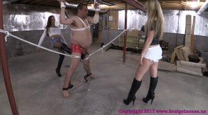 Chloe and Sasha – Ballbust Bound slave in Basement (1080 HD) – Brat Princess 2