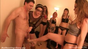 9 Girl BallBusting Party – MILKED AND BUSTED