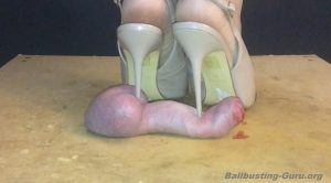 Cock damaged by stiletto slingbacks – Mistresses Cock Box