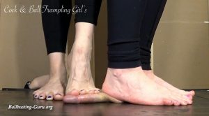 Anika and Lady Fawn Barefoot Ball Squashing! HD – Cock and Ball Trampling Girls