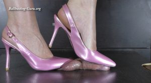 Designer pink slingbacks cock and ball crush – Karina Femdom Store