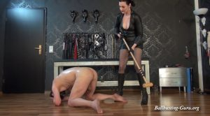 Extreme cruel game: Heavy ballbusting, CBT, croquet bat and nipple play! – GERMAN FEMDOM Lady Victoria Valente