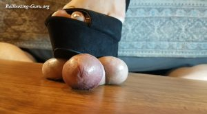 Cockbox Ball Crushing Footjobs – Black Heels Copper Toes