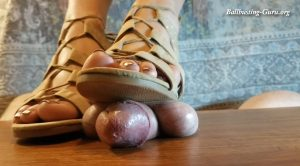 Strappy Shoes Copper Toes – Cockbox Ball Crushing Footjobs