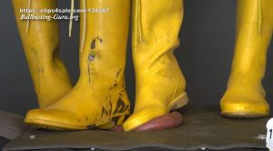 Balls and Cock in Hell – Ball Stomping and Trampling with yellow rubber boots on cock board