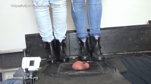 Balls and Cock in Hell – Extreme Ball Stomping and Trampling with Tommy Hilfiger and Mel Rubber Wellingtion Boots on cock board