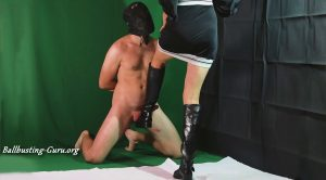 Aballs and cock crushing sexbomb – Brutal Ballbusting and Milking by Mistress Kim in black Boots