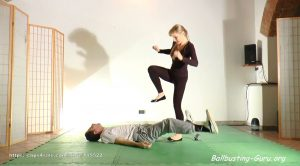 Chiara casual groin kicking lesson (ballbusting) with flats and barefoot – Martial Fetish