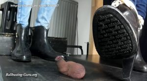 Hard: Kathi and new Model OLGA balls squeezing with Jodpuhr and Niagrara High Heel rubber boots. Exteme Jumps and Kicks! – Balls and Cock in Hell