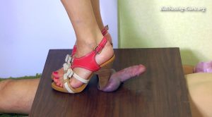 Merciless Cockbox Trampling in red High Heel Sandals, feat. Mistress Kim – Aballs and cock crushing sexbomb