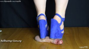 Lara CBT Clip Store – Card and Cock Crush under Blue Wedges (Full Clip)