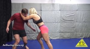 Antschas wrestling and fetish store – Sheena ballbusting part 1
