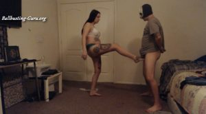 Lilly Longlegz Ball Crusher – strip ballbusting:eventually stripped down to fully naked kick by kick hard, and squeezing, ballcrushing, ball torture part 1