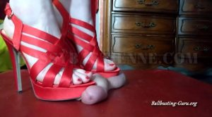 Ballbuster Bastienne – Ball Trampling in Strappy Red Heels with Painful Ruined Orgasm