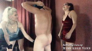 Naked Male Slave Gets Double Domination CBT – Goddess Fox, Miss Adah Vonn