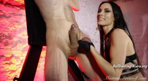 Mistress Firewolf – Punching the cum out of his balls EXTREME BALL ABUSE