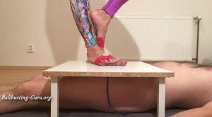 MISTRESS FATALIA – Big feet in flats CRUSH cock and balls