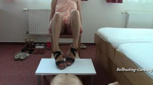 MISTRESS FATALIA – FemDom strappy sandals rub cock on cock board