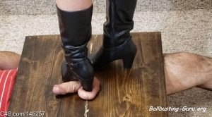 Phantoms Ballbusting Pleasures – Black boots ballbusting bootjob side view (custom video)